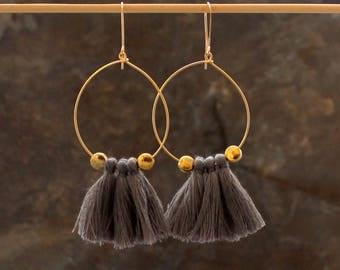 Tassel Hoop Earrings - Grey Tassel Earrings - Tassle Earrings - Fringe Earrings, White Tassel Earrings - Gold Hoop Earrings, Tassel Jewelry