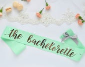 Mint and Silver Foil Sash...