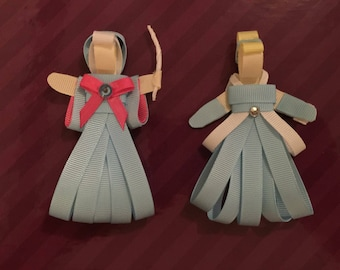 Disney inspired Cinderella and Fairy God Mother hair bow sculptures