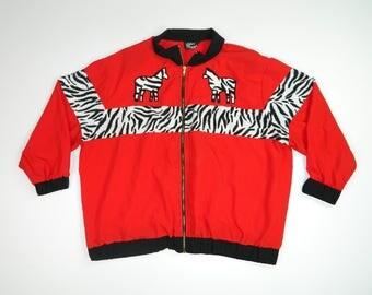 Vintage Zebra Print Bomber Jacket