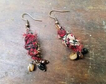 Upcycled Sari fabric Dangle Earrings drops