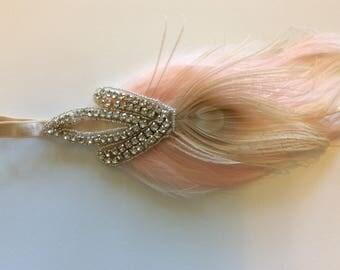 Pink Feather headband, 1920s Silver Headpiece, rhinestone pink feather custom fascinator Art Deco 1920s beaded Flapper gatsby headpiece