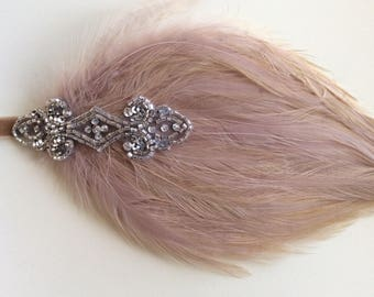 Beige Feather headband, great gatsby headpiece, silver beaded  1920s headpiece, flapper dress 20s style Headband  custom Valentine's Day