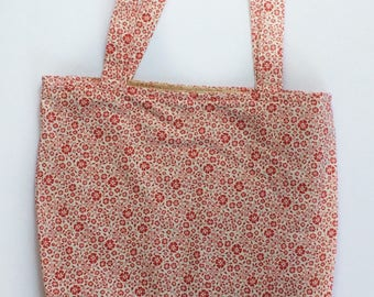 Red Flower Tote Bag - Tote Bag - Back to School - Red Project Bag - Cotton Project Bag - Cotton Tote Bag - Red Floral Tote Bag - School Tote