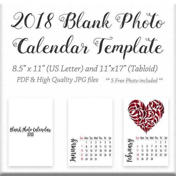 2018 Blank Calendar Minimal Calendar Blank Wall Calendar