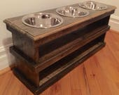 "Raised pallet dog bowl feeding station storage unit with 3(2 quart)bowls 31"" l X 12"" w X 14"" t driftwood finish"