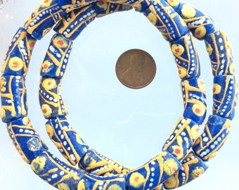 Dk Blue musturd yellow and white design African Krobo Recycled Glass Trade Beads (26PCS)
