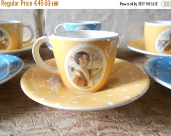 10 % SALE Vintage Kellogg's coffee cups. 6 yellow and blue dots cups, collectible Kellogg's advertising cups and saucers. 50's retro kitchen