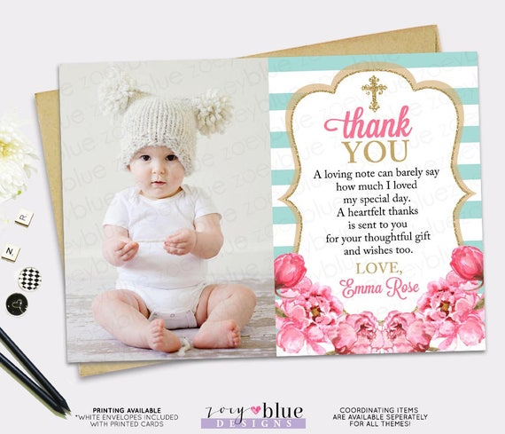 Baptism Thank You Card   Girl Floral Picture Thank You Card
