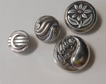 Mid Century Metalised Plastic Buttons Silver Buttons