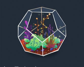 Digital Download - Digital Illustration Art - Terrarium