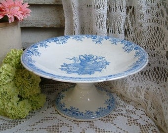 Antique english blue transferware cake stand. Blue transferware compote dish. Bates, Walker & Co. Shabby cottage chic. Romantic home decor