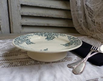 One Antique french forest green transferware short footed cake stand. Footed cake plate. Dark green transferware. Jeanne d'Arc living.