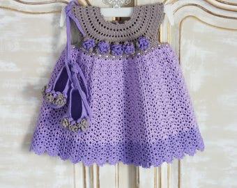 Set baby ROSA lilac crochet handmade