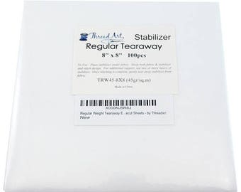 Regular Tearaway Embroidery Backing Stabilizer - 8x8 100 Precut Sheets