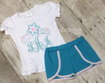 Princess Short Set, Elsa Inspired Outfit, Tiara Monogram, Disney Outfit, Frozen Outfit, Monogram Tiara, Elsa Monogram, Disney Shirt