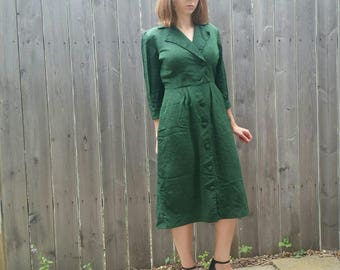 1940s Button Up Green Mid Length Dress Betty Hartford