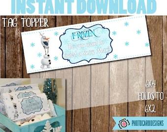 Frozen Build a Snowman Bag Topper, Birthday Printable, Birthday Tag, Build a Snowman, Frozen Party Favor, Tag, PDF, Treat Bag, Bag Topper