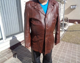 Mans 1970s vintage brown 3 button vintage leather jacket,coat by Grais size 48L,Nice jacket,coat