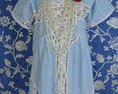 Beautiful Baby Blue and White Vintage Cotton Battenburg Lace Baby Doll Empire Waist dress