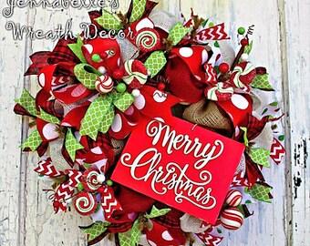 Christmas Wreath, Burlap Wreath, Merry Christmas, Black, Red, Green, White