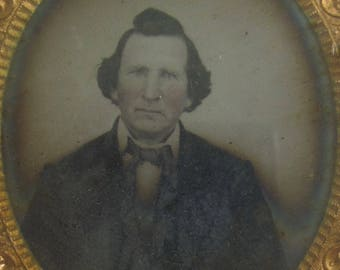 Original 1860's Handsome Professional Man 1/6 Plate Encased Tin Type Photograph - Free Shipping