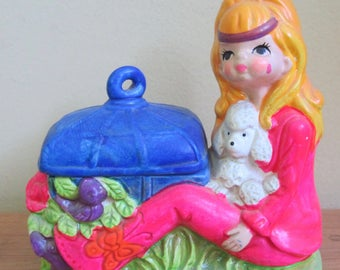 Mod 1970 Holiday Fair Japan Hippie Girl with Poodle Chalkware Trinket Box