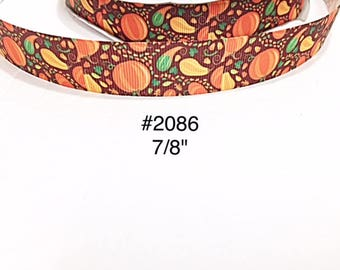 "3 or 5 yard -  7/8"" Fall or Autumn Pumpkin Acorn Leaf on Brown Grosgrain Ribbon For Hair bow Craft Supply"