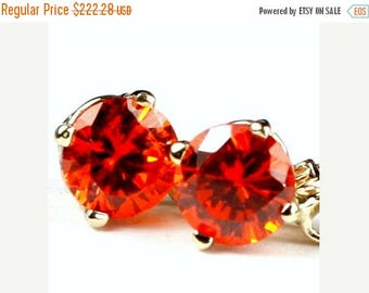 On Sale, 30%Off, Created Padparadscha Sapphire, 14KY Gold Leverback Earrings, E017