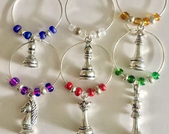 Board Games Chess Wine Glass Charms, Wine Accessories, Party Favors, Game Night, Stocking Stuffers, Nerd Gifts Under 15