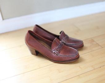 vintage brown leather loafer heels womens 7