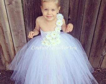 10% OFF HALLOWEEN SALE Flower Girl, White Tulle flower girl Dress, tulle flower girl dress wedding, tutu dress tulle flower girl, tutu flowe