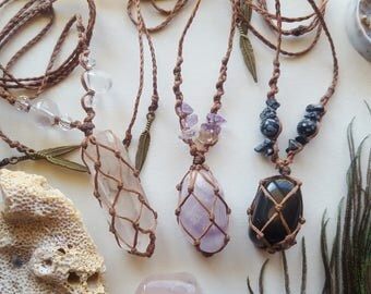 assorted crystal macrame necklaces, macrame necklace
