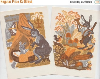SUMMER SALE -30%off Bunny Postcard Set of Two - Blank Vintage Postcard with Hares from Soviet times - 60s - Soviet Bunny Postcard - by Ovchi