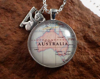 Vintage Map Necklace, Custom Map Jewellery, Personalised Necklace, Gift for Her, Koala Charm, Gift for Travellers, Au Pair Gift