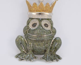 Solid 14K White Gold Natural Diamond Frog Pendant in Excellent Condition!