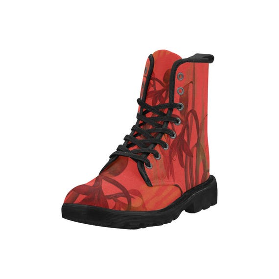 Botanical amaryllis, Women's high top combat boots, 80's style, feminine prints
