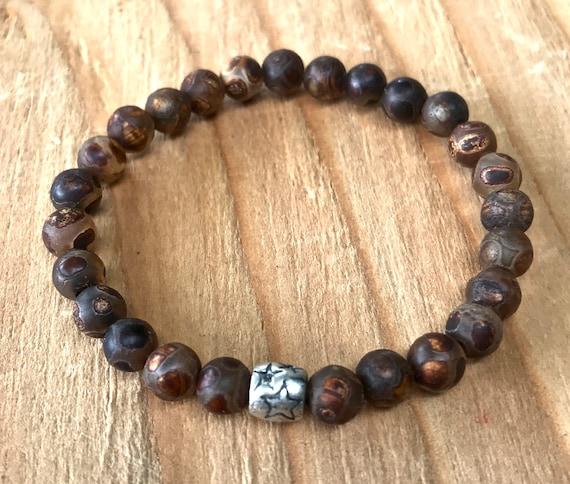 DZI Wrist Mala Beads, Boho Mala Beads, DZI Mala Bracelet, Tibetan Mala ,Prosperity,  Protection Beads, Yoga Jewelry, Stretch Bracelet