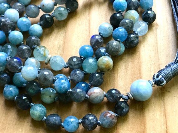 March Birthstone Mala Beads Aquamarine Mala Beads, Labradorite, Throat Chakra Tassel Necklace, Healing Mala, Aquamarine Tassel Necklace