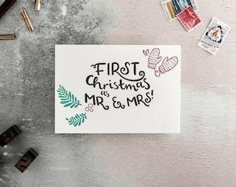 First Christmas As Mr & Mrs Letterpress Christmas Card *SALE*
