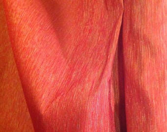 Striated Orange Silk Fabric