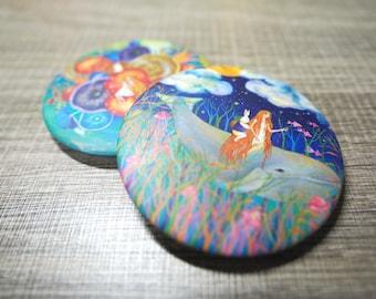 Set of 2 Illustration Badges , Art Badges, Pin