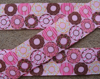 "3 yards Doughnut ribbon 7/8"" Breakfast ribbon sweet ribbon Cooking grosgrain hair bow ribbon by yard supplies pink and brown doughnut"