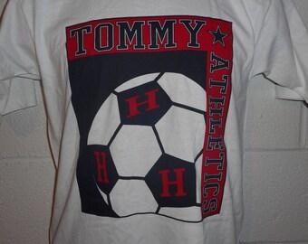 Vintage 90s Tommy Hilfiger Athletics Soccer T-Shirt Fits S/XS