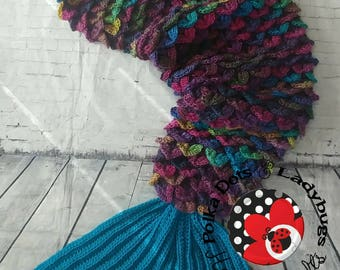 Mermaid tail blanket with fin -  adult mermaid tail- child mermaid tail - Crocodile stitch   - Cocoon - Crochet afghan - ***MADE to ORDER**