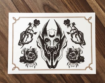 LIMITED Demons Sheet #2  - Tattoo print 50/50 signed