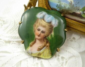 Vintage Marie Antoinette Brooch, Ceramic, C Clasp
