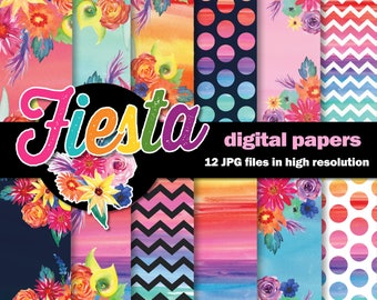Mexican Fiesta Watercolor Digital Papers /  Mexican Flowers / 12 High Res Floral  Scrapbook Papers