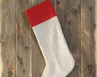 Farmhouse linen Christmas stocking-Country Christmas Decorations-Rustic Stocking