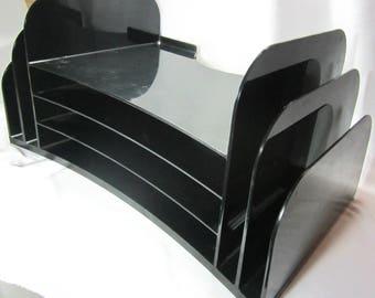 Desk Organizer Black Plastic File Folder Bin Storage Home Office Desk Organization Industrial Decor